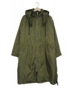 BEAUTY&YOUTH(ビューティアンドユース)の古着「グログランフェイクファーライナー付ロングコート」|グリーン