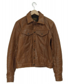 VANSON(バンソン)の古着「トラッカーレザージャケット」|ブラウン