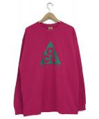 NIKE ACG(ナイキエーシージ)の古着「ロングスリーブTロゴスポーツカットソー」|ショッキングピンク