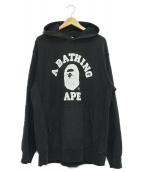 A BATHING APE(アベイシングエイプ)の古着「カレッジプルオーバーパーカー」|ブラック