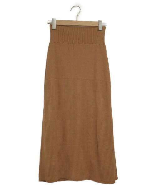 icB(アイシービー)icB (アイシービー) リブニットスカート ベージュ サイズ:Mの古着・服飾アイテム