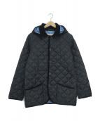 Traditional Weatherwear(トラディショナルウェザーウェア)の古着「フード付キルティングジャケットコート」|ネイビー