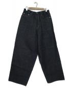 NEON SIGN(ネオンサイン)の古着「スイッチデニムリジッドワイドパンツ」|インディゴ