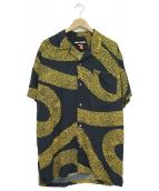 DOUBLE RAINBOUU(ダブルレインボー)の古着「オープンカラーシャツ」|ネイビー×イエロー
