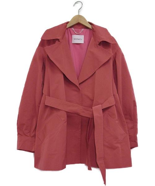 MAX&Co.(マックスアンドコー)MAX&Co. (マックスアンドコー) ショートトレンチコート ピンク サイズ:48の古着・服飾アイテム