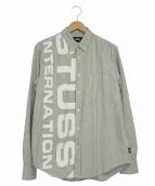 stussy(ステューシー)の古着「ロゴストライプシャツ」|グレー×ホワイト