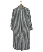 BEAMS BOY(ビームスボーイ)の古着「ボタンダウンシャツワンピース」 ホワイト×ネイビー