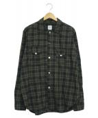POST OALLS(ポストオーバーオールズ)の古着「チェックシャツ」 ネイビー×グリーン