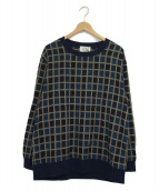 KUON(クオン)の古着「総柄クルーネックカットソー」|ネイビー