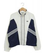 adidas(アディダス)の古着「[古着]80'sジップジャケット」|ホワイト×ネイビー