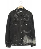 LEGENDA(レジェンダ)の古着「COLLAGE RANDOM BLEACHルーズデニムジャケ」|ブラック