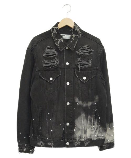 LEGENDA(レジェンダ)LEGENDA (レジェンダ) COLLAGE RANDOM BLEACHルーズデニムジャケ ブラック サイズ:Mの古着・服飾アイテム