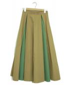Banner Barrett×MAKI KANEKO(バナーバレット×マキカネコ)の古着「配色フレアスカート」|ベージュ×グリーン