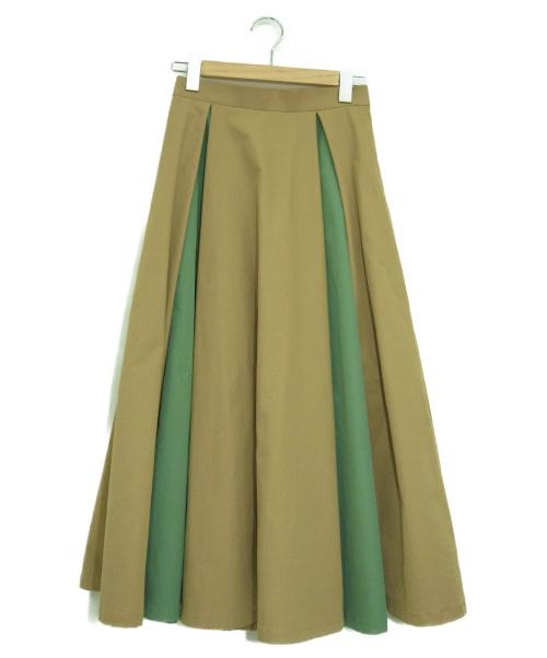 Banner Barrett×MAKI KANEKO(バナーバレット×マキカネコ)Banner Barrett×MAKI KANEKO (バナーバレット×マキカネコ) 配色フレアスカート ベージュ×グリーン サイズ:38の古着・服飾アイテム