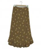 IENA(イエナ)の古着「フリルフラワーヘムスカート」|ブラウン