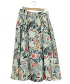 TOMORROWLAND(トゥモローランド)の古着「フラワープリントタックギャザースカート」|グリーン