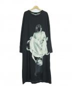 BLACK Scandal Yohji Yamamoto(ブラックスキャンダルヨウジヤマモト)の古着「内田柄丸首ロングスリーブカットソー」 ブラック