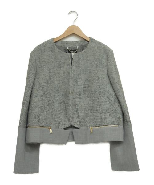 MAX&Co.(マックスアンドコー)MAX&Co. (マックスアンドコー) ノーカラージャケット グレー サイズ:48の古着・服飾アイテム