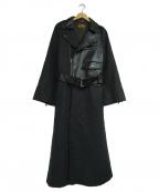 BELLE VINTAGE(ベルビンテージ)の古着「異素材切替ライダースコート」 ブラック