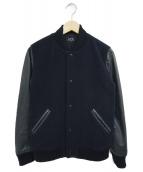 A.P.C.(アーペーセー)の古着「袖レザー切替スタジャン」|ネイビー