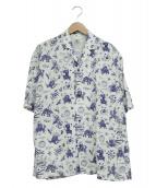 SASQUATCHfabrix.(サスクワァッチファブリックス)の古着「ノッチドカラーシャツ」|ブルー×ホワイト