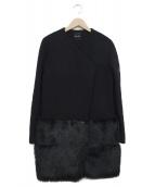 YOKO CHAN(ヨーコチャン)の古着「ファー切替ヘムコート」|ブラック