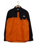 THE NORTH FACE(ザノースフェイス)の古着「ロングスリーブヌプシシャツ」 オレンジ×ブラック