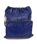 MM6 Maison Margiela(エムエムシックスメゾンマルジェラ)の古着「巾着レザーリュック」|ブルー