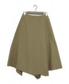ENFOLD(エンフォルド)の古着「アシンメトリードレープスカート」|ベージュ