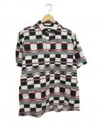 WHITE MOUNTAINEERING(ホワイトマウンテ二アニング)の古着「チェックプルオーバーシャツ」|ホワイト×ブラック