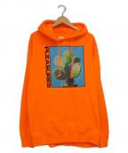 PLEASURES(プレジャーズ)の古着「プルオーバーパーカー」 オレンジ