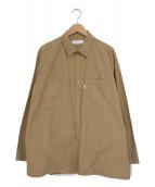 Graphpaper(グラフペーパー)の古着「タイプライターロングスリーブボックスシャツ」 ベージュ