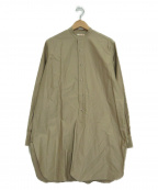 BACCA(バッカ)の古着「コットンバックサテンスタンドカラーロングシャツ」|ベージュ
