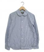 GOOD DESIGN SHOP COMME des GAR(グッドデザインショップコムデギャルソン)の古着「ラウンドカラーストライプシャツ」 ブルー×ホワイト