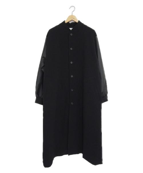 LEANN(リーン)LEANN (リーン) エコレザースリーブロングブルゾン ブラック サイズ:S Faux leather sleeve L/BZの古着・服飾アイテム