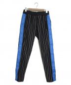 daniel patrick(ダニエルパトリック)の古着「サイドスナップストライプトラックパンツ」|ブラック×ブルー