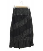 ()の古着「パッチワークプリーツロングスカート」 ブラック