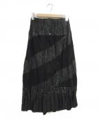 ISSEY MIYAKE(イッセイミヤケ)の古着「パッチワークプリーツロングスカート」|ブラック