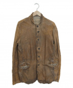 GIORGIO BRATO(ジョルジオ ブラッド)の古着「ムラ染めラムレザージャケット」 ブラウン