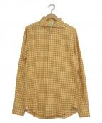 finamore(フィナモレ)の古着「ホリゾンタルカラーシャツ」 オレンジ×ホワイト