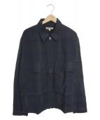 ()の古着「ジップアップチェックジャケット」|ネイビー×グリーン