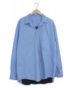 ()の古着「ニット切替ストライプシャツ」 ブルー×ブラック