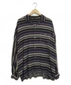 FILL THE BILL(フィルザビル)の古着「ランダムボーダーシャツ」|グレー×パープル