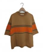 digawel(ディガウェル)の古着「ワイドカットソー」|ベージュ×オレンジ