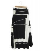 DES PRES(デプレ)の古着「マットレーヨンナイロン フレアミディスカート」|ホワイト×ブラック