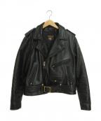 VANSON(バンソン)の古着「レザーライダースジャケット」 ブラック