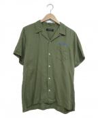 RUDE GALLERY(ルードギャラリー)の古着「バック刺繍オープンカラーシャツ」 オリーブ