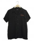 RUDE GALLERY(ルードギャラリー)の古着「バック刺繍オープンカラーシャツ」 ブラック