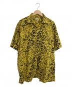 gold(ゴールド)の古着「レオパード柄オープンカラーシャツ」|イエロー×ブラック