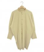 HOMME PLISSE ISSEY MIYAKE(オムプリッセイッセイミヤケ)の古着「バンドカラープリーツシャツ」 ベージュ